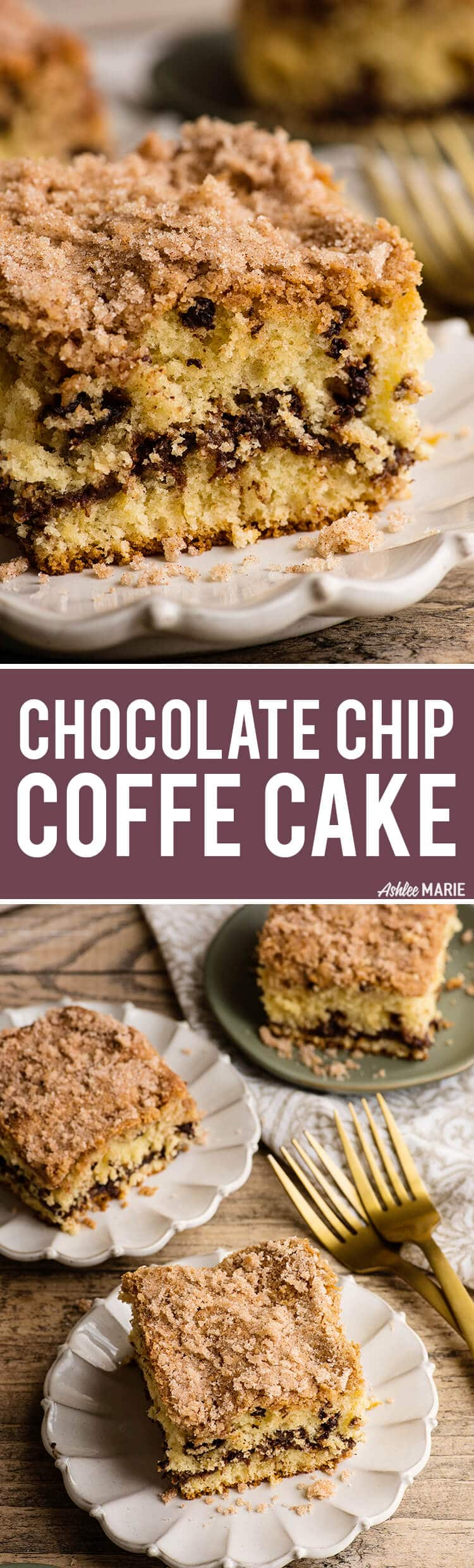how to make chocolate chip sour cream coffee cake with streusel topping - video tutorial