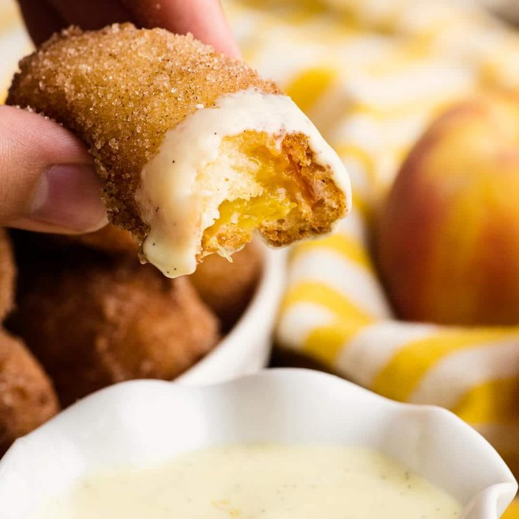 fried peaches with vanilla bean creme anglaise