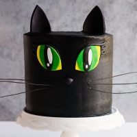 black cat cake tutorial - video black buttercream