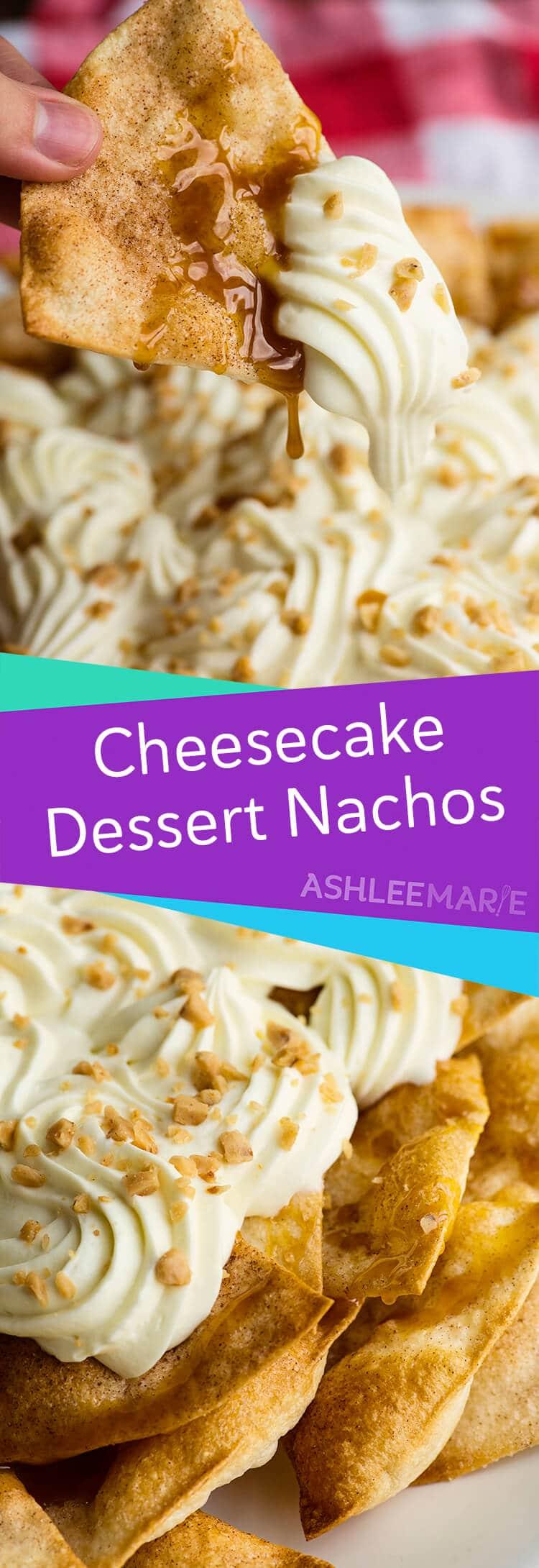 Caramel cheesecake nachos