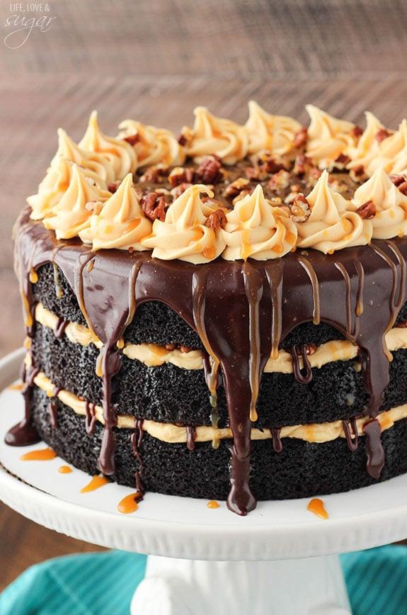 Turtle Chocolate Layer Cake with Caramel Icing & Chocolate Ganache