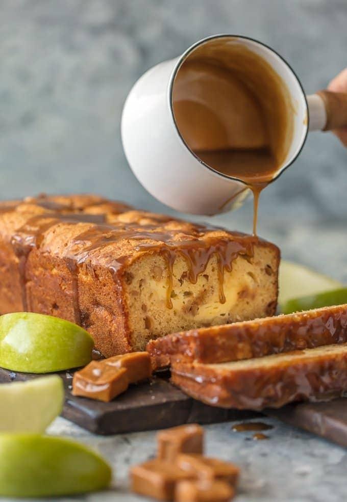 Caramel Cheesecake Stuffed Apple Bread