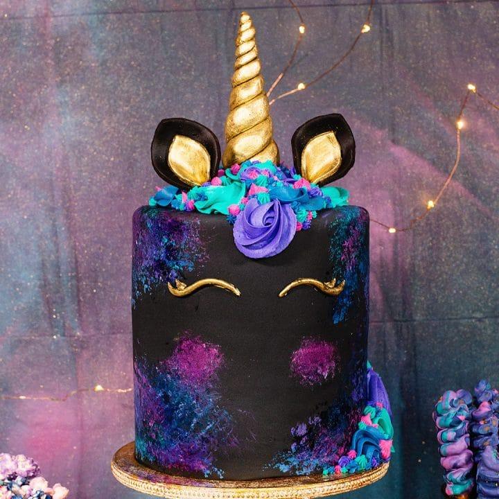 galaxy unicorn cake decorating video