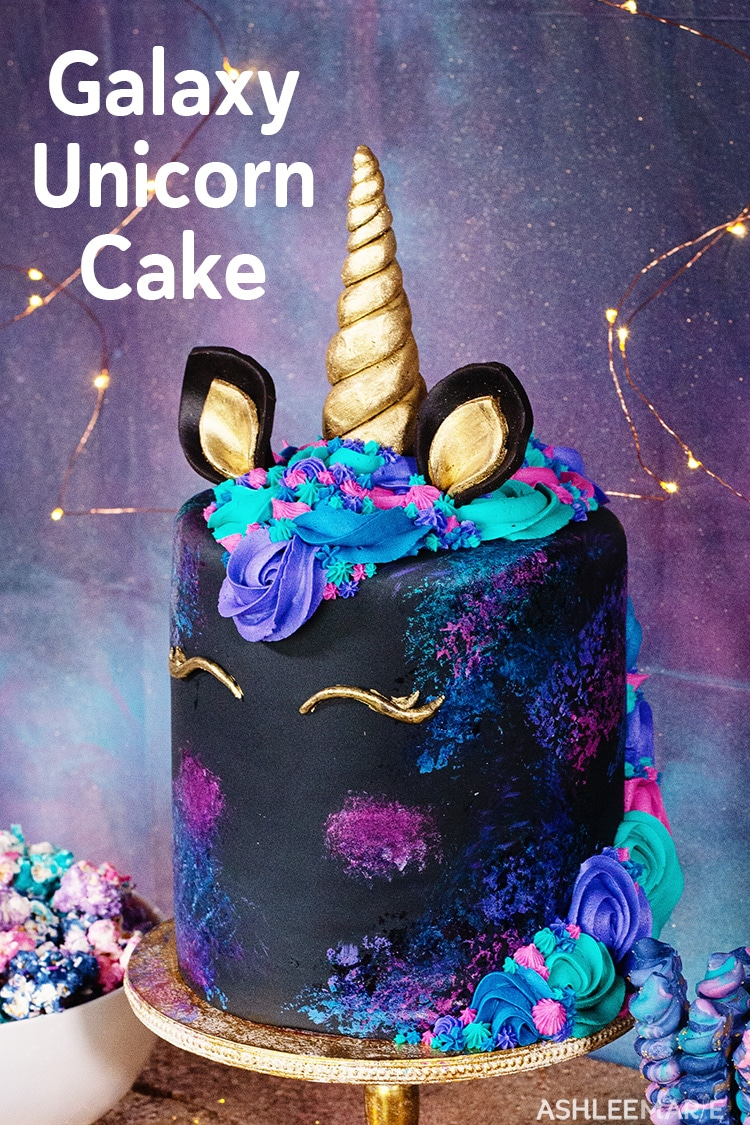 hand painted galaxy unicorn cake with buttercream mane