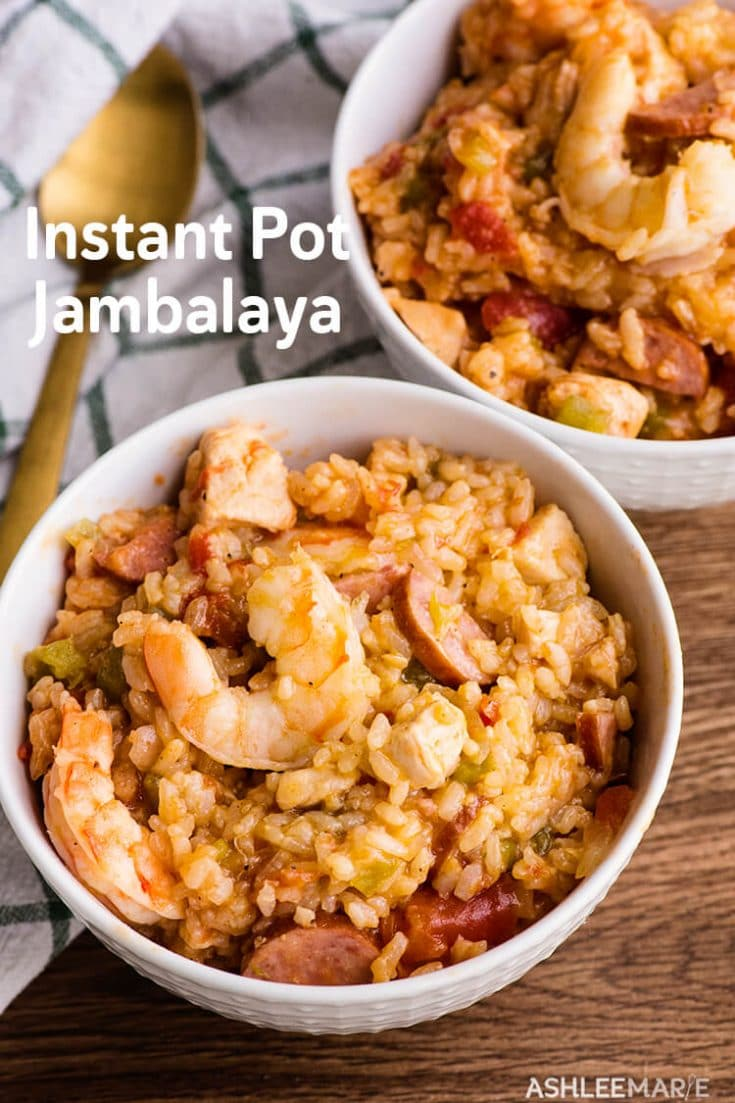 This Instant pot Jambalaya with Chicken, sausage, Shrimp, Rice and Vegetables makes a flavorful New Orleans style meal.  Jambalaya is super easy to cook in a pressure cooker and doesn't take very much time.  The Instant pot does a great job of melding the spice and flavors together quickly.