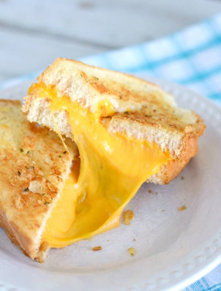 Garlic Bread Grilled Cheese Sandwiches