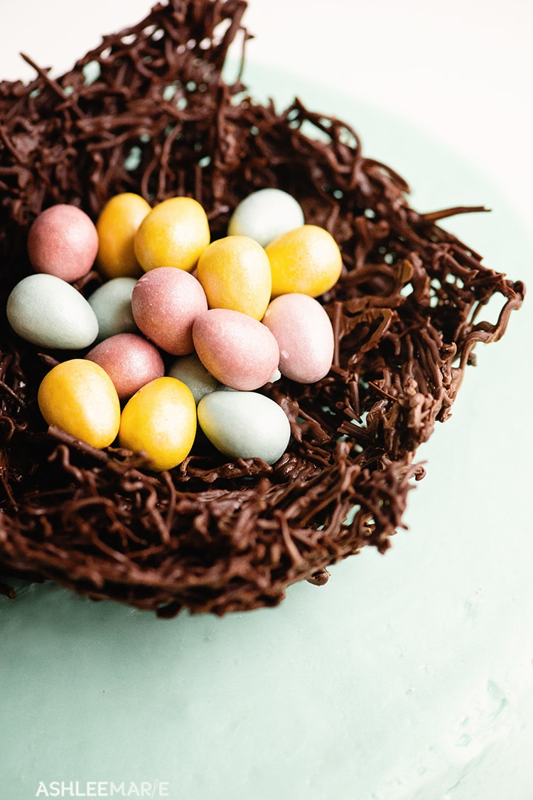 easter egg chocolate nest cake tutorial