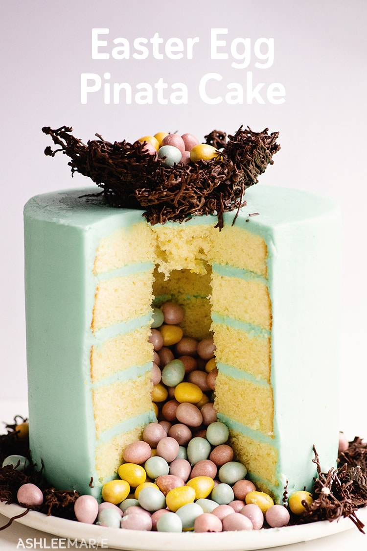 easter egg pinata cake with chocolate nest