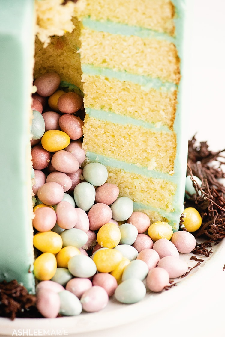 easter egg surprise inside cake