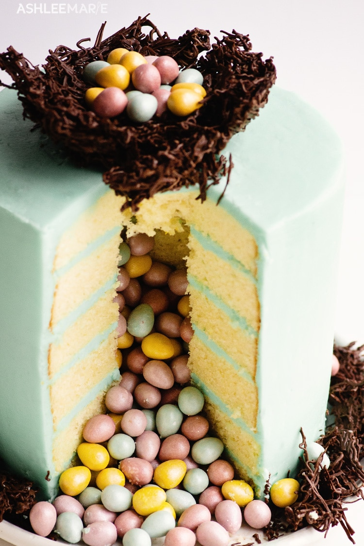easter egg with chocolate nest pinata cake