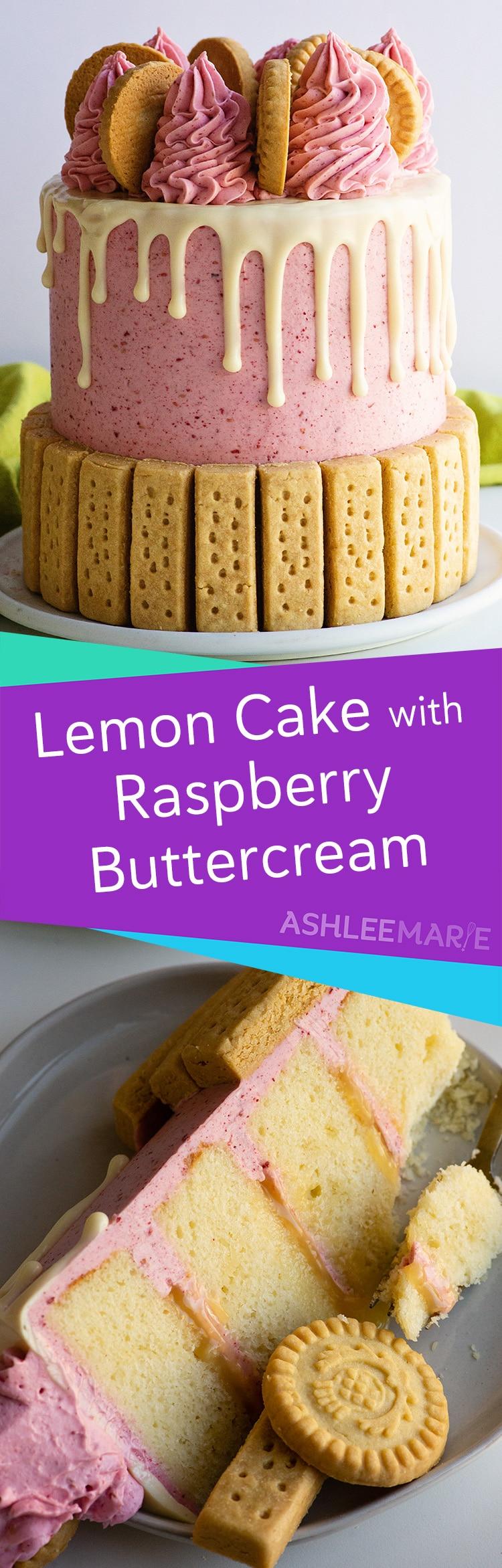 lemon cake with lemon curd and raspberry swiss meringue buttercream