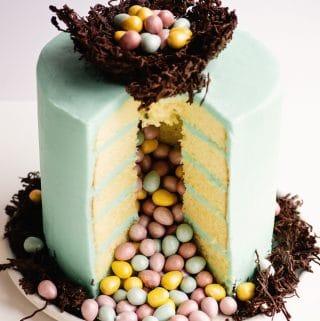 surprise inside easter egg pinata cake