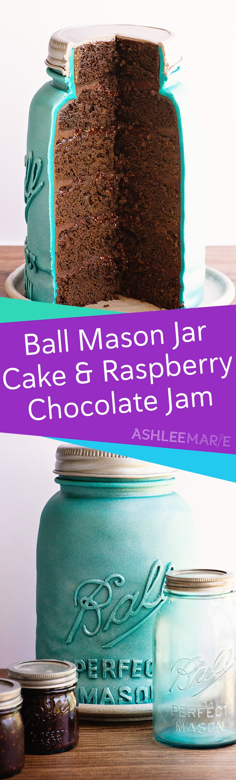 ball mason jar cake with chocolate raspberry jam recipe and video