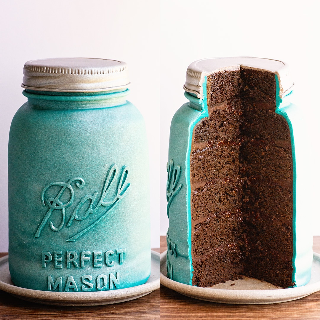 inside look at carved mason jar cake