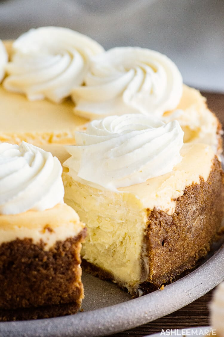 homemade eggnog-flavored cheesecake