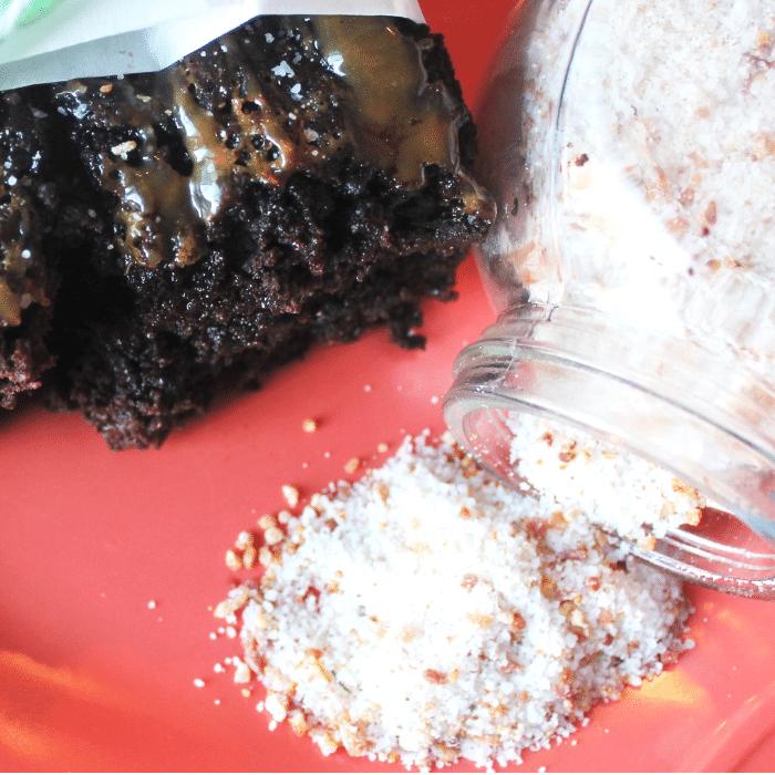 Dark Chocolate Caramel Brownies with Bacon Salt