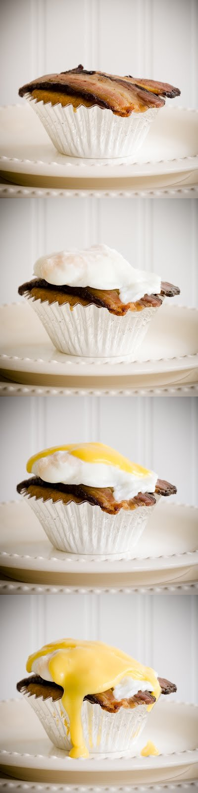 Maple Cupcakes Topped with Black Forest Bacon, Poached Eggs, and Maple Hollandaise Sauce | Cupcake Project