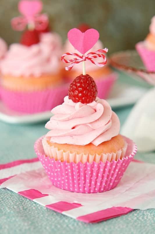 Pink Velvet Raspberry Cupcakes