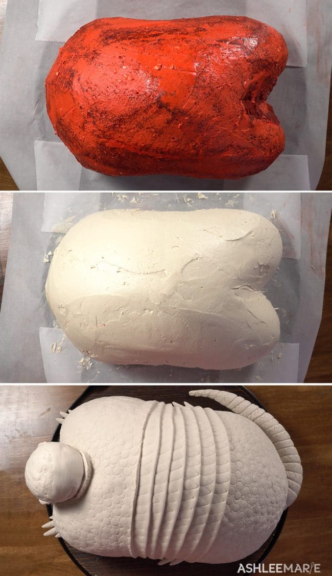 frosting the armadillo cake