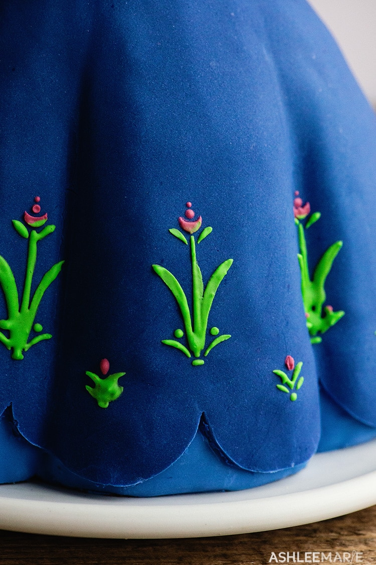 anna frozen 1 cake tutorial skirt details
