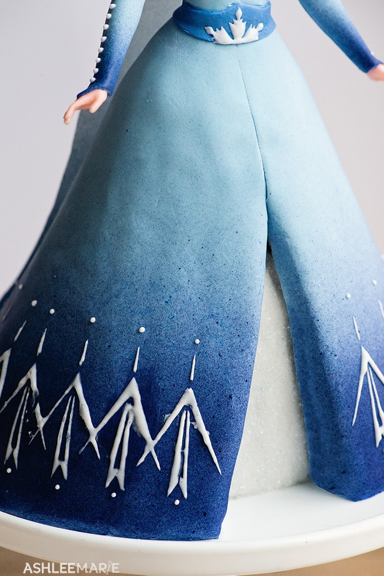 elsa frozen 2 cake tutorial skirt details