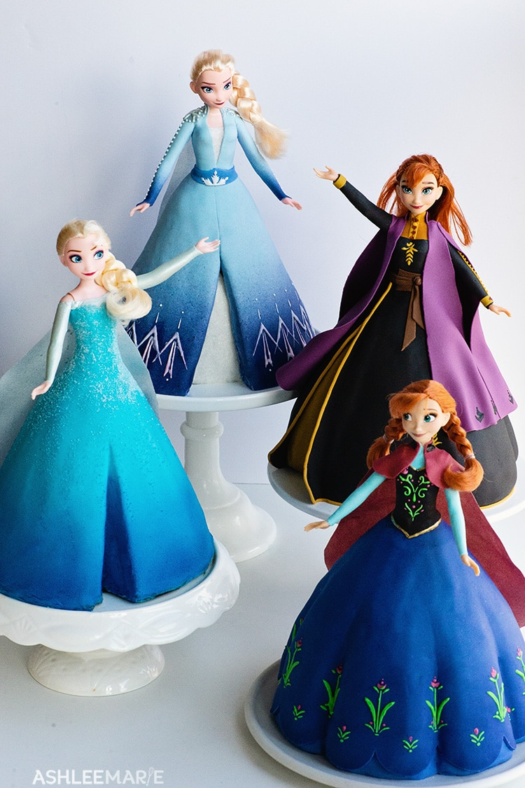 frozen 1 and 2 anna and elsa princess cakes