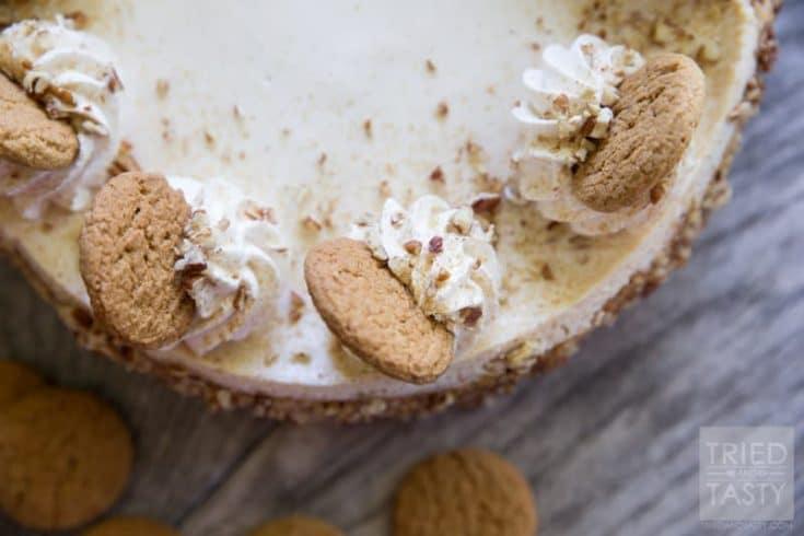 Pumpkin Cheesecake with Gingersnap-Pecan Crust