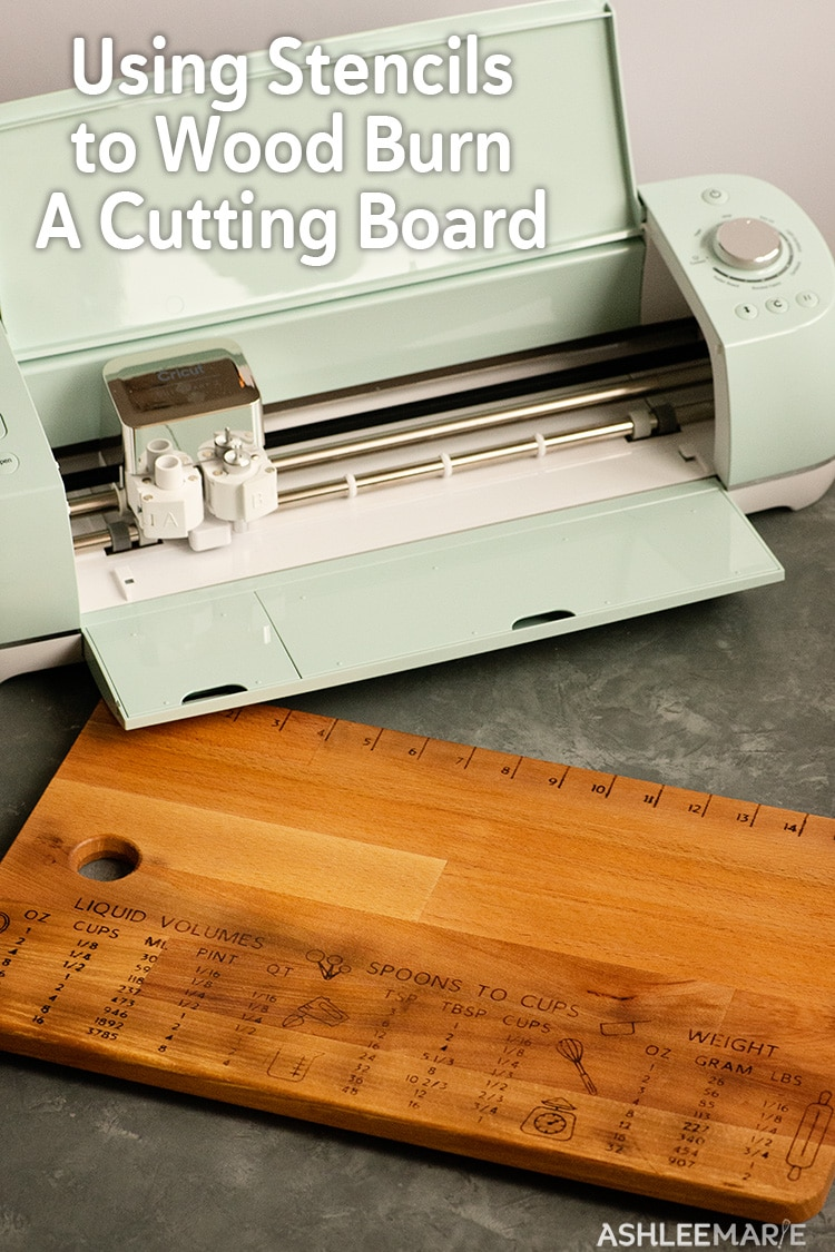 use a cricut explore air 2 to cut a stencil for detailed wood burnning on a cutting board