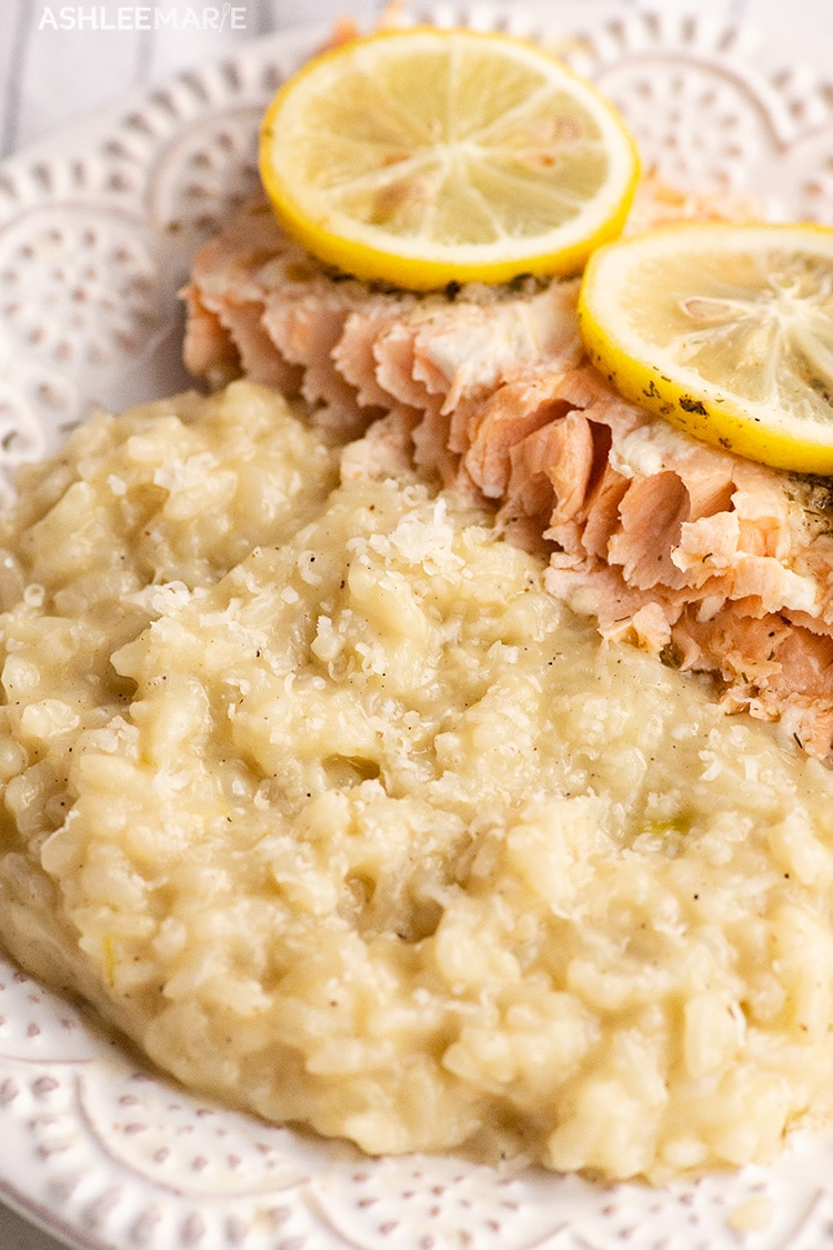 creamy instant pot risotto and baked salmon filet