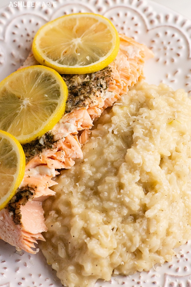 pressure cooker risotto with baked salmon