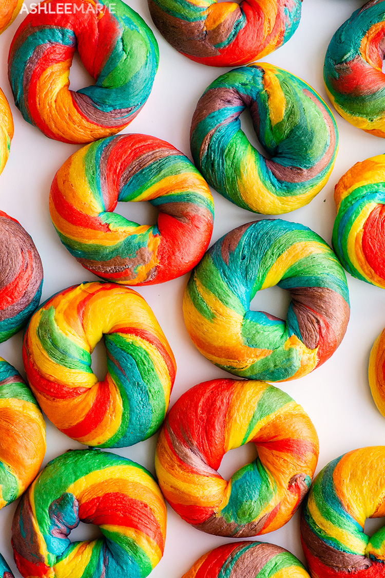 rainbow bagel recipe and video tutorial