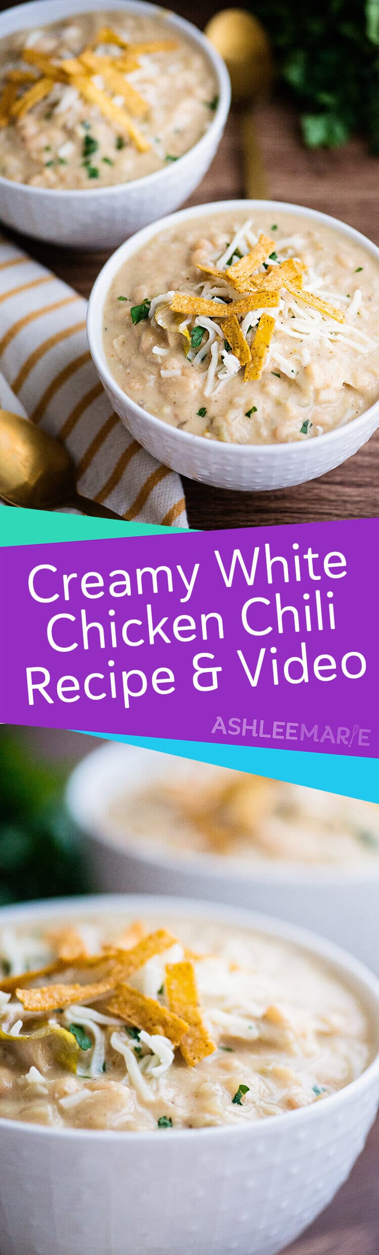 a creamy and spicy white chicken chili recipe with video